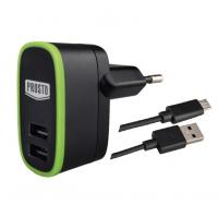 USB punjač 2xUSB sa microUSB kablom 5V 2100mA, Prosto USBP03M